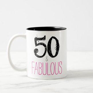 50 e caneca fabulosa do aniversário