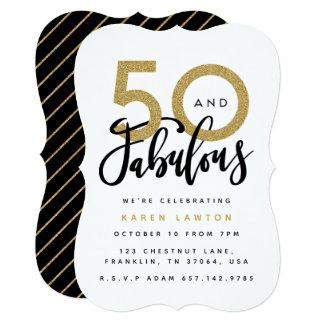50 e convite de aniversário fabuloso