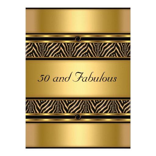 50 e convite de aniversário fabuloso do ouro