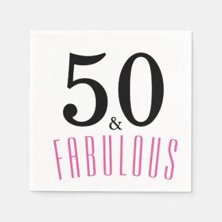 50 e guardanapo de papel da festa de aniversário