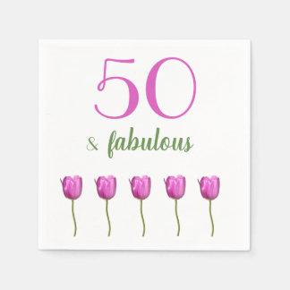 50 e tulipa magenta fabulosa do guardanapo   do