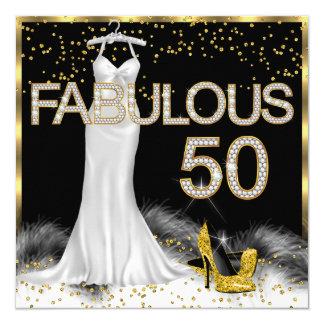 50 fabulosos festa de aniversário preta do branco convite quadrado 13.35 x 13.35cm