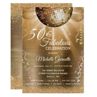 50 na moda & convite fabuloso do ouro