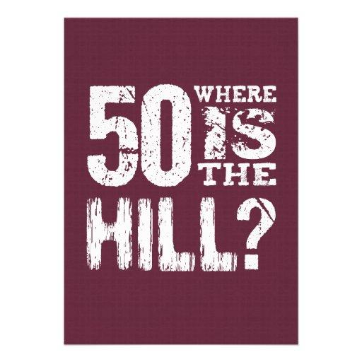 50 onde está aniversário engraçado BU01 do monte o Convite