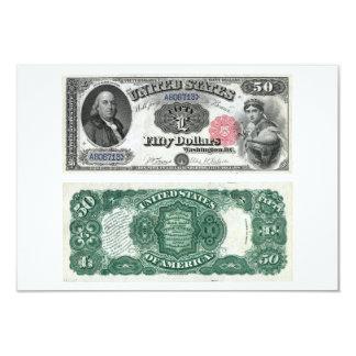 $50 séries 1880 da moeda legal da nota dos Estados Convites Personalizados