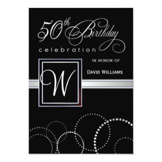 50th Adulto da festa de aniversário - monograma de Convite 12.7 X 17.78cm