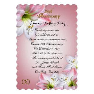 50th Amarylis do rosa da renovação do voto do Convites Personalizados