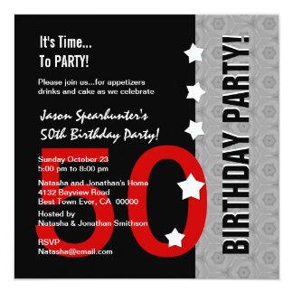 50th Aniversário D845A engraçado preto de prata Convites