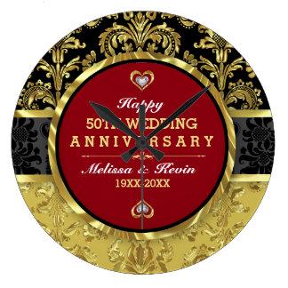 50th Aniversário de casamento do ouro Relógios Para Pendurar