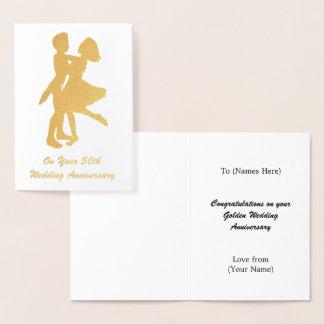 50th aniversário de casamento (dourado) - cartão metalizado