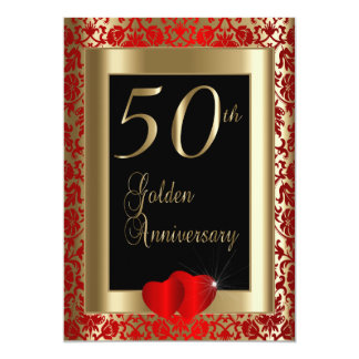 50th Aniversário de casamento dourado Convite 12.7 X 17.78cm