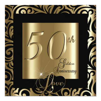 50th Aniversário de casamento dourado Convite Quadrado 13.35 X 13.35cm