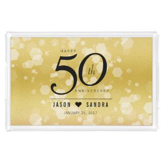 50th aniversário de casamento dourado elegante bandeja de acrílico