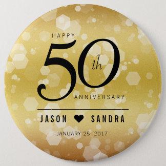 50th aniversário de casamento dourado elegante bóton redondo 15.24cm