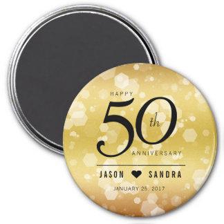 50th aniversário de casamento dourado elegante ímã redondo 7.62cm