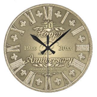 50th Aniversário de casamento dourado Relógio De Parede