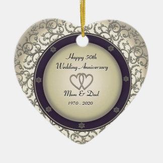 50th Aniversário de casamento Ornamento De Cerâmica Coração