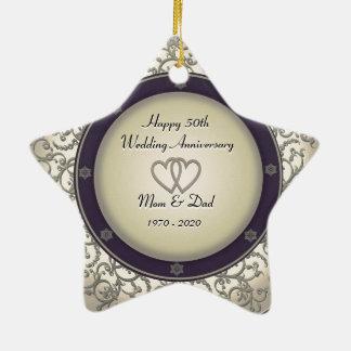 50th Aniversário de casamento Ornamento De Cerâmica Estrela