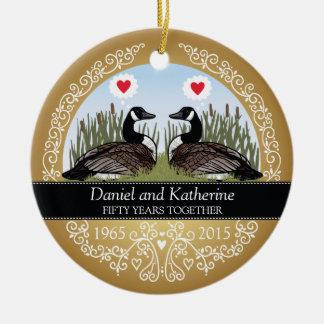 50th aniversário de casamento personalizado, ornamento de cerâmica redondo