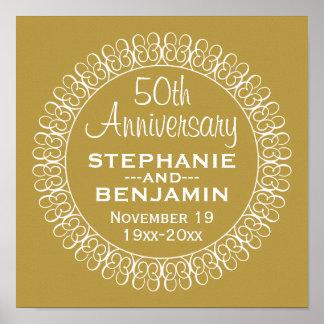 50th Aniversário de casamento personalizado Poster