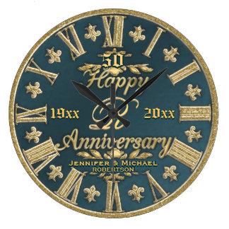 50th Aniversário de casamento Relógios Para Paredes