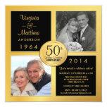 50th Aniversário dourado com as fotos passadas & Convites Personalizados