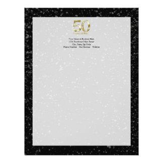 50th Aniversário, encanto preto elegante do ouro Modelo De Papel De Carta