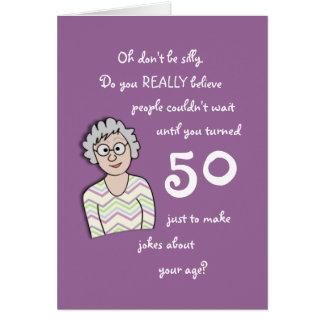 50th Aniversário para o cartão Ela-Engraçado