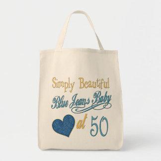 50th aniversário simplesmente bonito sacola tote de mercado