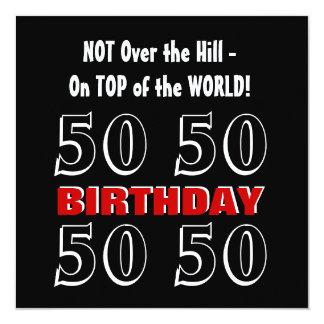50th Aniversário W1027 engraçado preto de prata Convite Quadrado 13.35 X 13.35cm