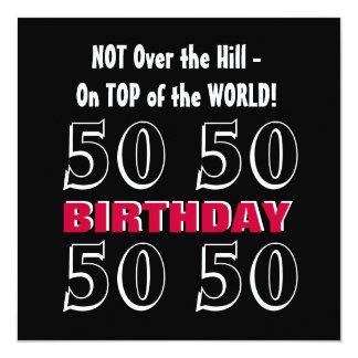 50th Aniversário Y166 engraçado preto de prata Convites Personalizado
