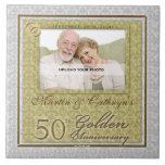 50th Azulejo dourado da foto do aniversário