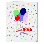50th balões coloridos do aniversário cartoes