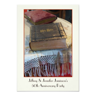 50th Bíblia do vintage do convite da festa de