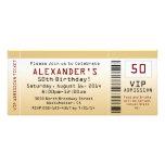 50th Bilhete Goldtone do convite de aniversário