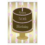 50th Bolo do cartão de aniversário no rosa