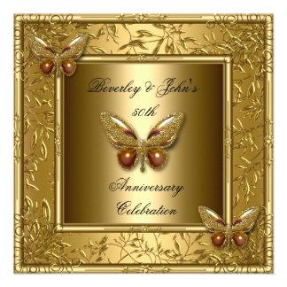 50th borboleta elegante 2 do ouro do aniversário convite