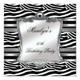 50th branco elegante do preto da prata da zebra do convites personalizado