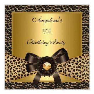 50th Café Brown do leopardo do ouro da festa de Convite Quadrado 13.35 X 13.35cm