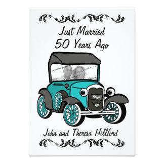 50th Carro antigo do aniversário Convite 12.7 X 17.78cm