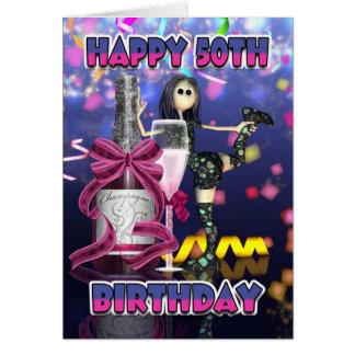 50th Cartão de aniversário - boneca de pano de