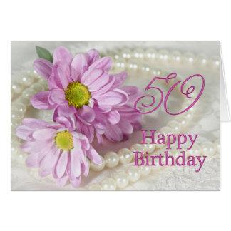 50th Cartão de aniversário com margaridas