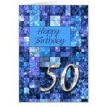 50th Cartão de aniversário com quadrados abstratos