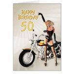 50th Cartão de aniversário com uma menina do velom