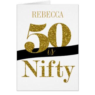 50th cartão de aniversário personalizado no brilho