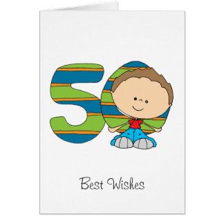 50th Cartão de cartões de aniversários - menino
