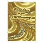 50th Cartão do aniversário de casamento dourado