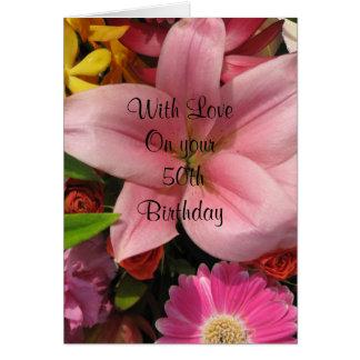 50th Cartão do buquê floral do aniversário