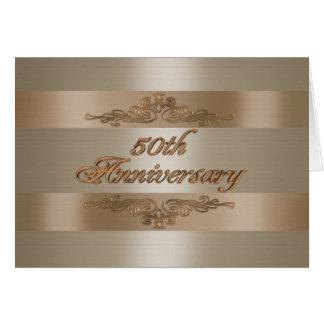 50Th cartão do cetim do ouro do convite da festa