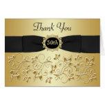 50th Cartões de agradecimentos florais do ouro pre